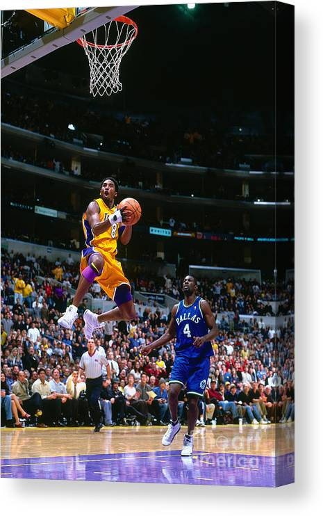 Nba Pro Basketball Canvas Print featuring the photograph Michael Finley and Kobe Bryant by Robert Mora