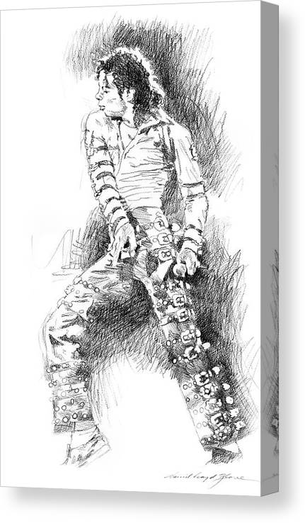 Michael Jackson Canvas Print featuring the drawing Michael Jackson - Onstage by David Lloyd Glover