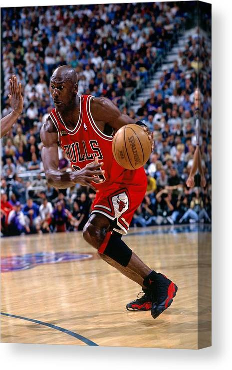 Chicago Bulls Canvas Print featuring the photograph Michael Jordan by Andrew D. Bernstein