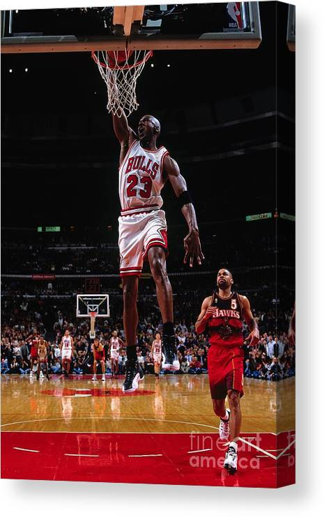Chicago Bulls Canvas Print featuring the photograph Michael Jordan by Nathaniel S. Butler