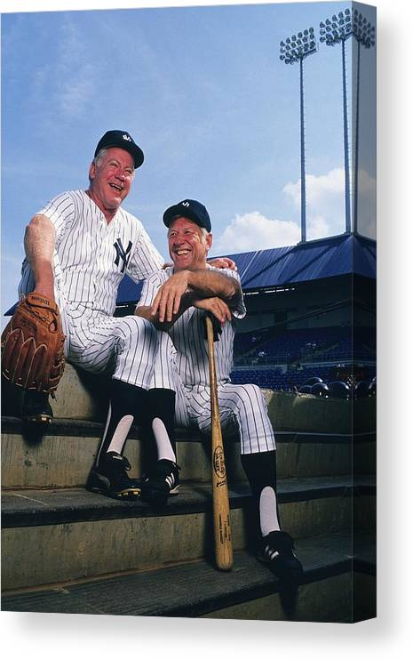 1980-1989 Canvas Print featuring the photograph Mickey Mantle and Whitey Ford by Ronald C. Modra/sports Imagery