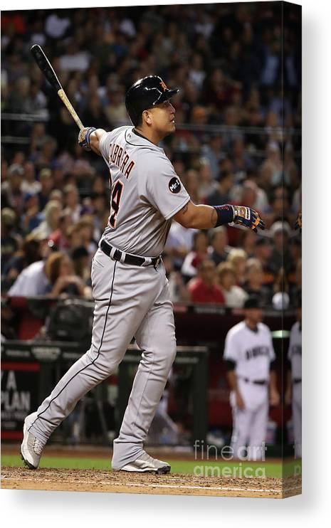 People Canvas Print featuring the photograph Miguel Cabrera by Christian Petersen