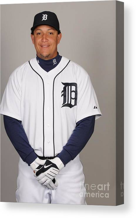 Media Day Canvas Print featuring the photograph Miguel Cabrera by Tony Firriolo