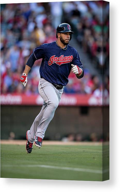 American League Baseball Canvas Print featuring the photograph Mike Aviles by Paul Spinelli