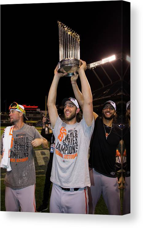 Playoffs Canvas Print featuring the photograph Mike Morse, Ryan Vogelsong, and Madison Bumgarner by Brad Mangin