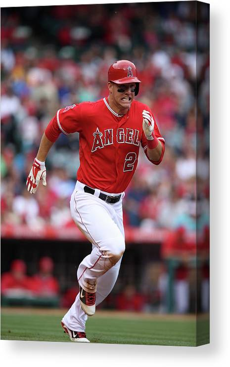 People Canvas Print featuring the photograph Mike Trout by Paul Spinelli