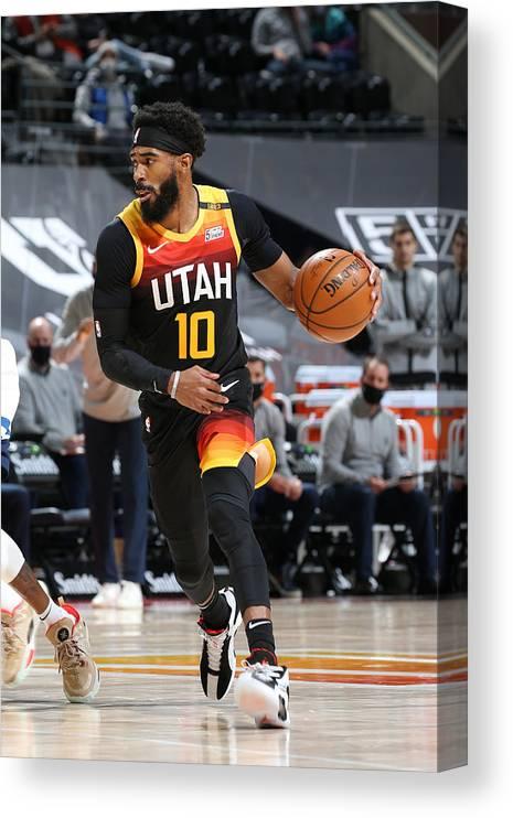 Nba Pro Basketball Canvas Print featuring the photograph Minnesota Timberwolves v Utah Jazz by Melissa Majchrzak