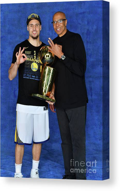 Playoffs Canvas Print featuring the photograph Mychal Thompson and Klay Thompson by Jesse D. Garrabrant