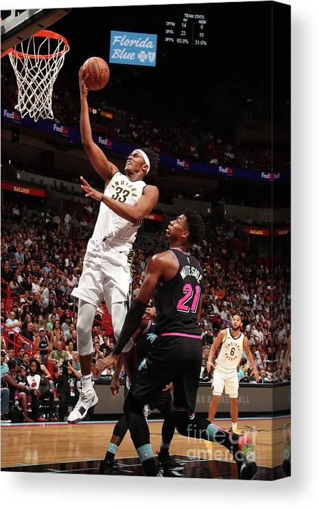 Nba Pro Basketball Canvas Print featuring the photograph Myles Turner by Issac Baldizon