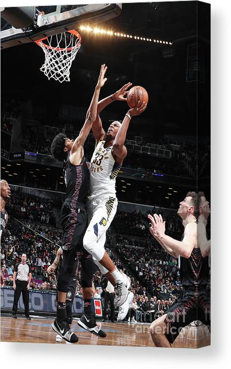 Nba Pro Basketball Canvas Print featuring the photograph Myles Turner by Nathaniel S. Butler
