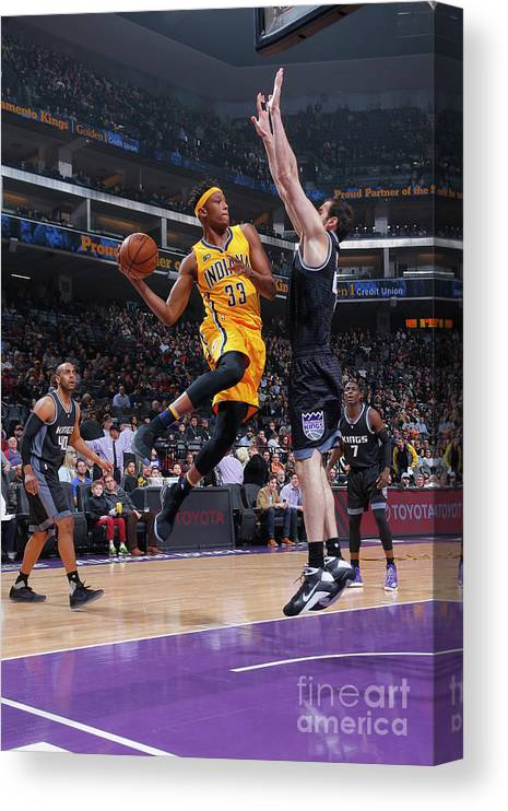 Nba Pro Basketball Canvas Print featuring the photograph Myles Turner by Rocky Widner