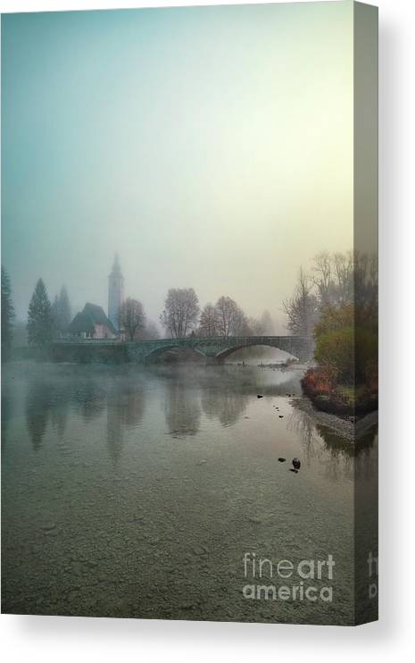 Kremsdorf Canvas Print featuring the photograph Mystery By The Lake by Evelina Kremsdorf