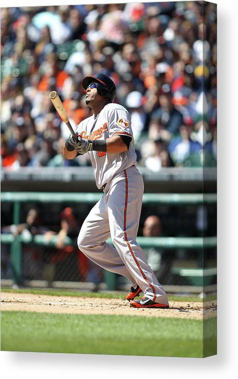 American League Baseball Canvas Print featuring the photograph Nelson Cruz by John Grieshop