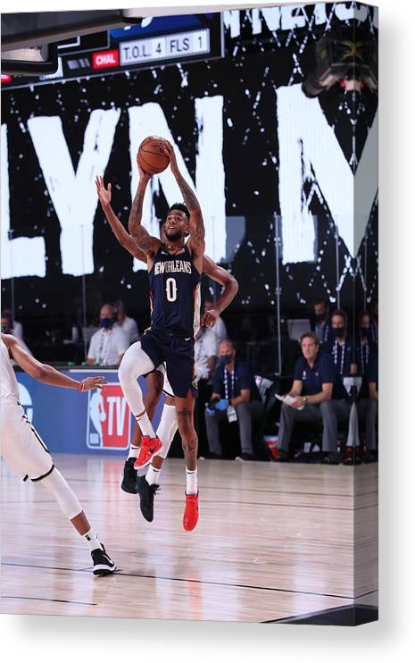 Nba Pro Basketball Canvas Print featuring the photograph New Orleans Pelicans v Brooklyn Nets by Joe Murphy