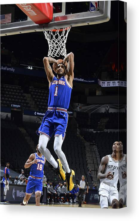 Nba Pro Basketball Canvas Print featuring the photograph New York Knicks v San Antonio Spurs by Logan Riely
