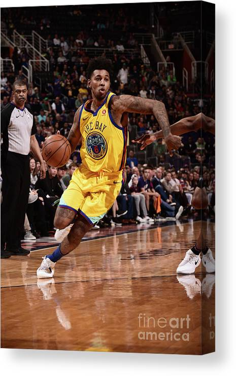 Sports Ball Canvas Print featuring the photograph Nick Young by Michael Gonzales