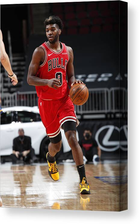 Nba Pro Basketball Canvas Print featuring the photograph Oklahoma City Thunder v Chicago Bulls by Jeff Haynes