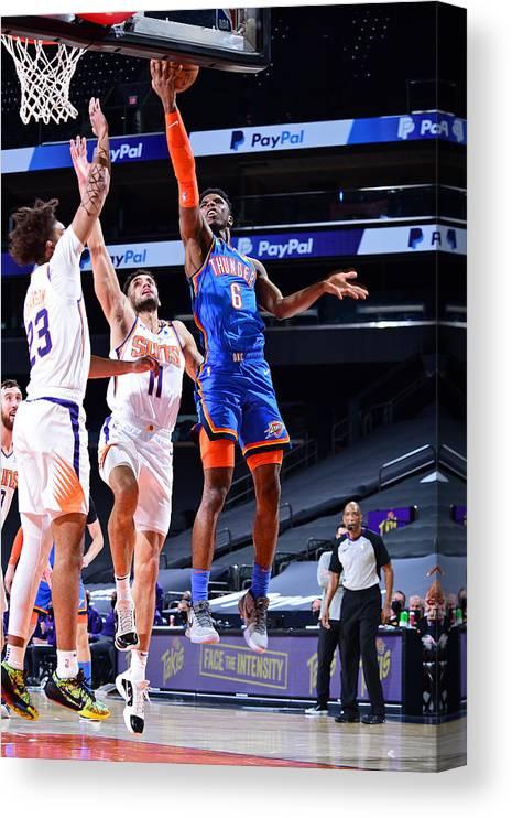 Nba Pro Basketball Canvas Print featuring the photograph Oklahoma City Thunder v Phoenix Suns by Michael Gonzales