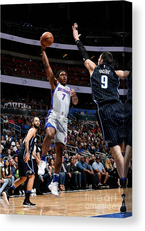Nba Pro Basketball Canvas Print featuring the photograph Orlando Johnson by Fernando Medina
