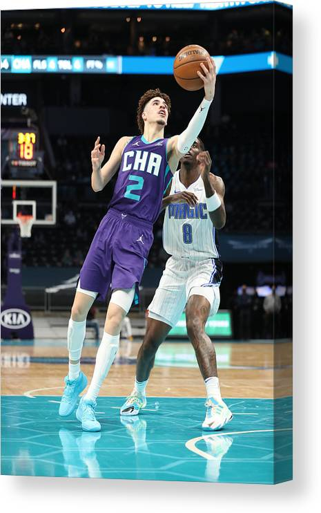 Nba Pro Basketball Canvas Print featuring the photograph Orlando Magic v Charlotte Hornets by Brock Williams-Smith