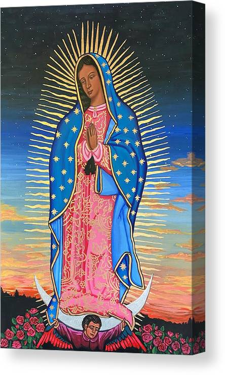 Canvas Print featuring the painting Our Lady of Guadalupe by Kelly Latimore