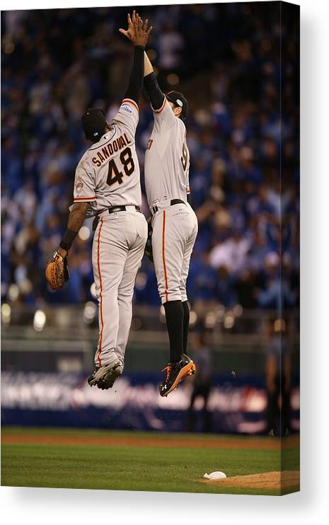 Playoffs Canvas Print featuring the photograph Pablo Sandoval and Brandon Belt by Brad Mangin