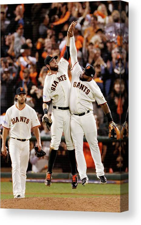 San Francisco Canvas Print featuring the photograph Pablo Sandoval and Brandon Belt by Thearon W. Henderson