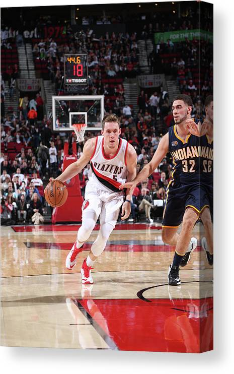 Nba Pro Basketball Canvas Print featuring the photograph Pat Connaughton and Georges Niang by Sam Forencich