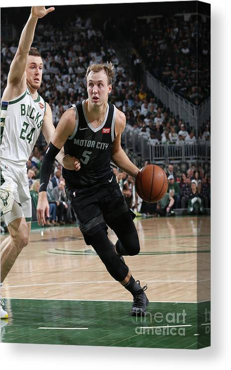 Playoffs Canvas Print featuring the photograph Pat Connaughton and Luke Kennard by Gary Dineen