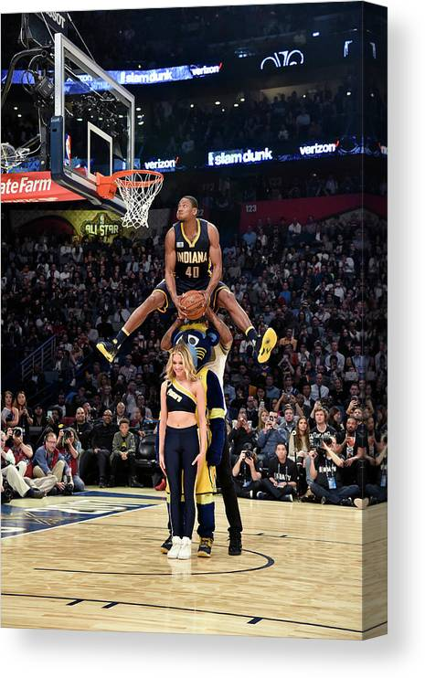 Event Canvas Print featuring the photograph Paul George and Glenn Robinson by Bill Baptist