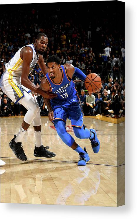 Nba Pro Basketball Canvas Print featuring the photograph Paul George and Kevin Durant by Noah Graham