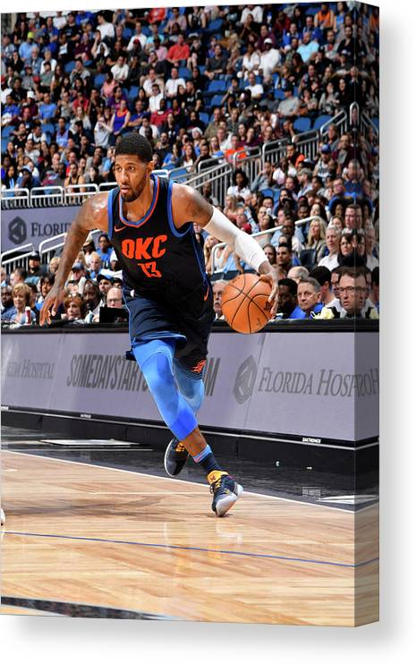 Nba Pro Basketball Canvas Print featuring the photograph Paul George by Fernando Medina