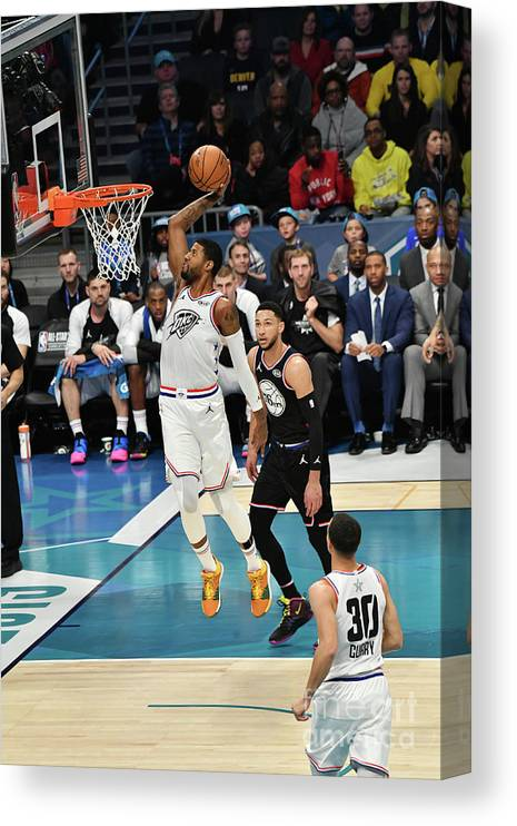 Nba Pro Basketball Canvas Print featuring the photograph Paul George by Jesse D. Garrabrant
