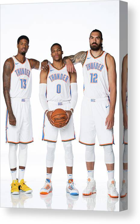 Media Day Canvas Print featuring the photograph Paul George, Russell Westbrook, and Steven Adams by Nba Photos