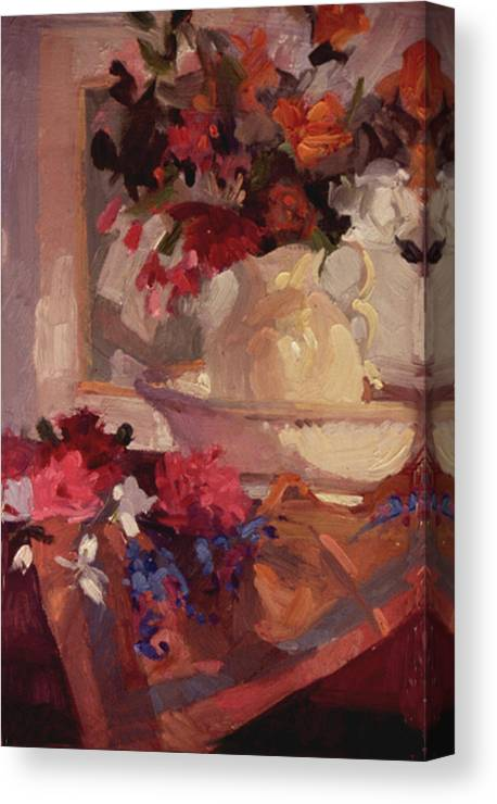 Still Life Canvas Print featuring the painting Porcelain and Peonies by Betty Jean Billups
