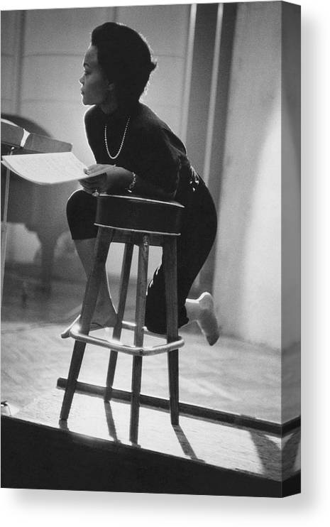 Actress Canvas Print featuring the photograph Portrait of Eartha Kitt in the Studio by Martin Iger