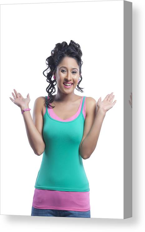 Three Quarter Length Canvas Print featuring the photograph Portrait of young woman smiling by Sudipta Halder