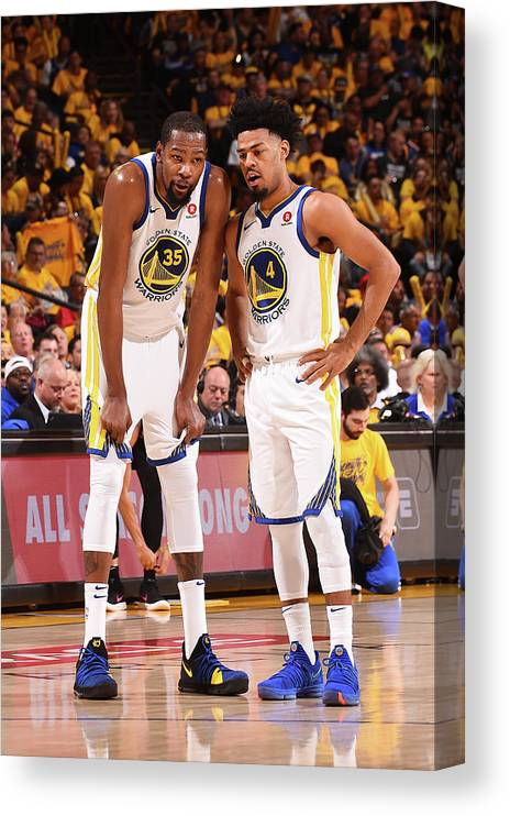 Playoffs Canvas Print featuring the photograph Quinn Cook and Kevin Durant by Noah Graham