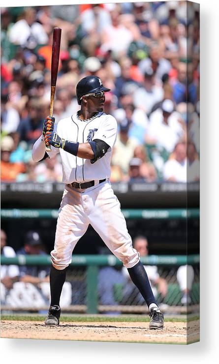 American League Baseball Canvas Print featuring the photograph Rajai Davis by Leon Halip