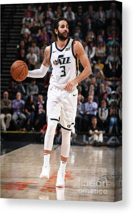 Nba Pro Basketball Canvas Print featuring the photograph Ricky Rubio by Garrett Ellwood