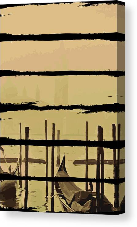 Fishing Canvas Print featuring the digital art River Boat Scenery by Jacob Zelazny