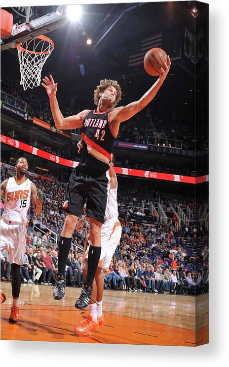 Nba Pro Basketball Canvas Print featuring the photograph Robin Lopez by Barry Gossage