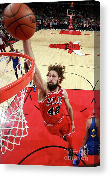 Nba Pro Basketball Canvas Print featuring the photograph Robin Lopez by Jeff Haynes