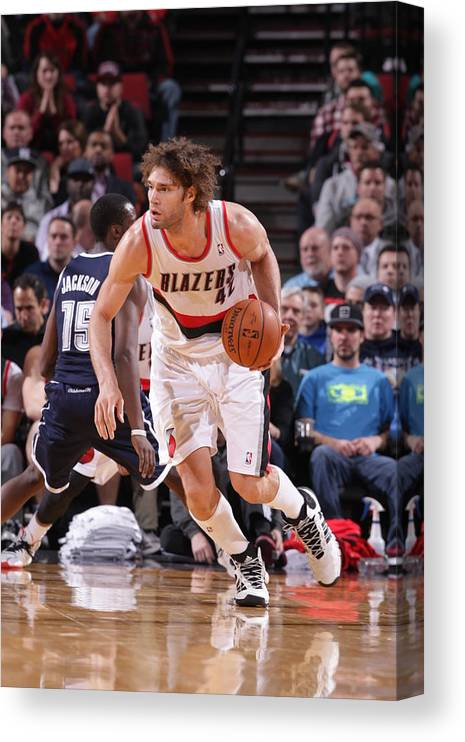 Nba Pro Basketball Canvas Print featuring the photograph Robin Lopez by Sam Forencich