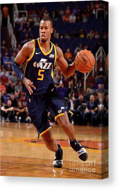 Nba Pro Basketball Canvas Print featuring the photograph Rodney Hood by Barry Gossage
