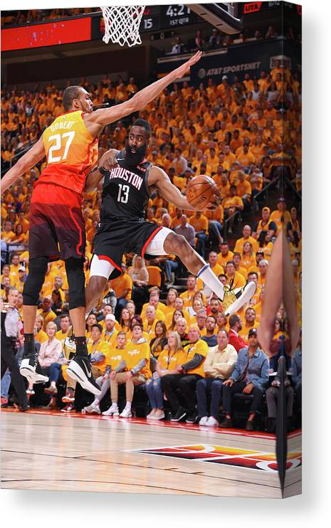 Playoffs Canvas Print featuring the photograph Rudy Gobert and James Harden by Bill Baptist