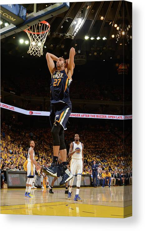 Playoffs Canvas Print featuring the photograph Rudy Gobert by Noah Graham