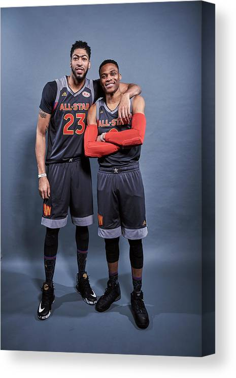 Event Canvas Print featuring the photograph Russell Westbrook and Anthony Davis by Jennifer Pottheiser