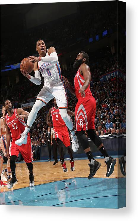 Nba Pro Basketball Canvas Print featuring the photograph Russell Westbrook and James Harden by Layne Murdoch