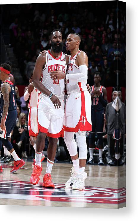 Nba Pro Basketball Canvas Print featuring the photograph Russell Westbrook and James Harden by Stephen Gosling